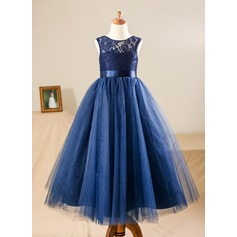 A-Line/Princess Floor-length Flower Girl Dress - Satin/Tulle/Lace Sleeveless Scoop Neck With Sash (010090577)