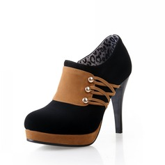 Leatherette Spool Heel Platform Ankle Boots With Sequin shoes