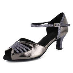 Women's Patent Leather Heels Sandals Latin With Ankle Strap Dance Shoes
