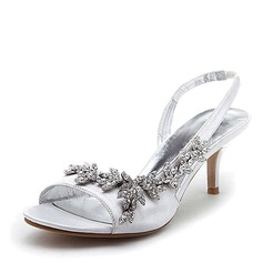 Satin Stiletto Heel Slingbacks Sandals Wedding Shoes With Rhinestone (047005984)