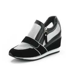 Real Leather Wedge Heel Pumps Closed Toe shoes