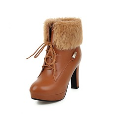 Women's Leatherette Chunky Heel Platform Ankle Boots With Fur Braided Strap shoes