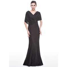 Trumpet/Mermaid V-neck Floor-Length Lace Evening Dress With Beading Sequins
