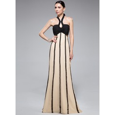 Empire Halter Sweep Train Chiffon Evening Dress With Ruffle Sequins