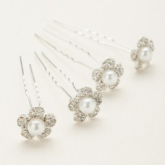 Flower Shaped Alloy/Austrian Crystal Hairpins(Set of 4)