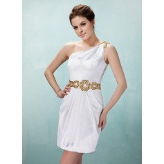 Sheath/Column One-Shoulder Short/Mini Charmeuse Cocktail Dress With Ruffle Beading Sequins