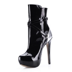 Patent Leather Stiletto Heel Platform Ankle Boots With Zipper shoes