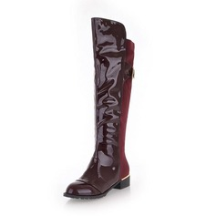 Leatherette Low Heel Knee High Boots With Buckle shoes