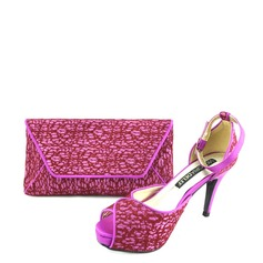 Women's Peep Toe Stiletto Heel Pumps Shoes Matching Clutches Bag(More Colors Available)