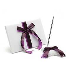Bows Satin Ribbons Guestbook/Pen Set