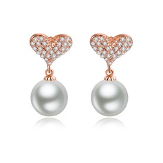 Classic Copper/Zircon/Platinum Plated With Pearl Ladies' Earrings