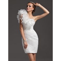 Sheath/Column One-Shoulder Short/Mini Organza Homecoming Dress With Beading Cascading Ruffles