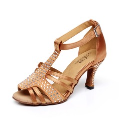 Women's Satin Heels Sandals Latin With T-Strap Dance Shoes