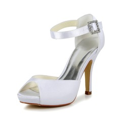 Women's Satin Stiletto Heel Peep Toe Pumps Sandals With Buckle
