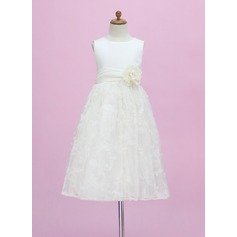 A-Line/Princess Ankle-length Flower Girl Dress - Satin/Lace Sleeveless Scoop Neck With Flower(s)