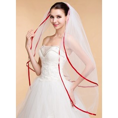 Two-tier Ribbon Edge Waltz Bridal Veils With Ribbon