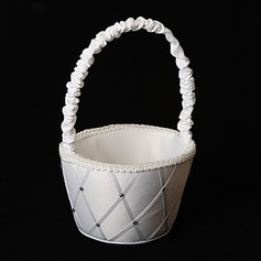 Diamond Grid Pattern White Satin Flower Girl Basket(102018059)