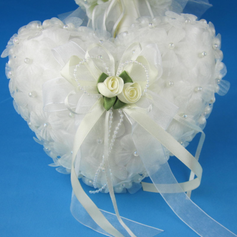Heart Shaped Ring Pillow in Satin With Pearl Flowers