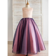 Ball Gown Floor-length Flower Girl Dress - Satin/Tulle Sleeveless Scoop Neck With Back Hole