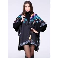 Plaid/Color Block Oversized/Shawls Poncho