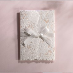 Classic Style Tri-Fold Invitation Cards With Ribbons