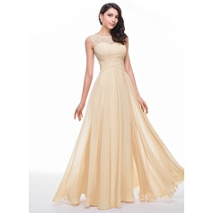 A-Line/Princess Scoop Neck Floor-Length Chiffon Prom Dress With Ruffle Beading Flower(s) (018056791)