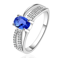 Exquisite Silver Plated Copper With Zircon Unisex Fashion Rings