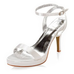 Satin Stiletto Heel Platform Sandals Wedding Shoes With Buckle (047005111)