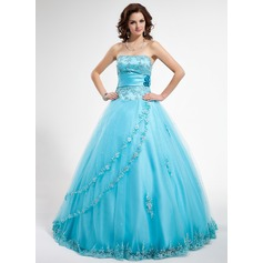 Ball-Gown Strapless Floor-Length Tulle Quinceanera Dress With Beading Appliques Lace Flower(s) Sequins