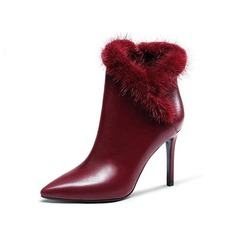 Women's Real Leather Stiletto Heel Ankle Boots With Fur shoes