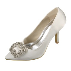 Women's Satin Stiletto Heel Closed Toe Pumps With Rhinestone (047070622)