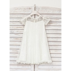 Empire Knee-length Flower Girl Dress - Lace Short Sleeves Scoop Neck