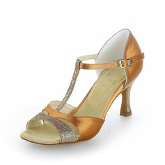 Women's Satin Sparkling Glitter Heels Sandals Latin With T-Strap Dance Shoes