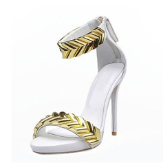 Women's Real Leather Stiletto Heel Sandals Peep Toe shoes