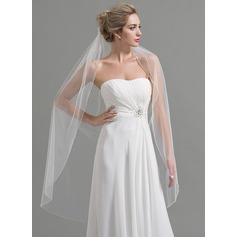 One-tier Beaded Edge Waltz Bridal Veils With Beading/Rhinestones