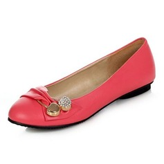 Leatherette Flat Heel Flats Closed Toe With Rhinestone Buckle shoes (086043354)