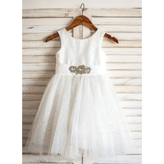 A-Line/Princess Knee-length Flower Girl Dress - Tulle Sleeveless Scoop Neck With Sequins/Rhinestone