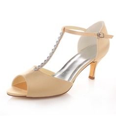 Women's Satin Spool Heel Peep Toe Sandals