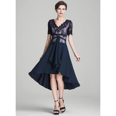 A-Line/Princess V-neck Asymmetrical Chiffon Mother of the Bride Dress With Beading Appliques Lace Sequins