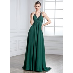 Empire Halter Watteau Train Chiffon Holiday Dress With Ruffle Beading (020025955)