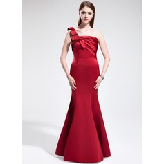 Trumpet/Mermaid One-Shoulder Floor-Length Satin Bridesmaid Dress With Ruffle