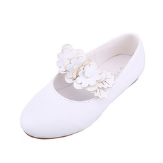 Kids' Leatherette Flat Heel Closed Toe Flats With Flower