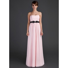 Empire Sweetheart Floor-Length Chiffon Bridesmaid Dress With Sash Beading Bow(s)