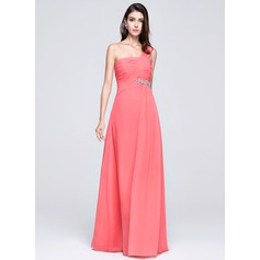 Empire One-Shoulder Floor-Length Chiffon Bridesmaid Dress With Ruffle Beading