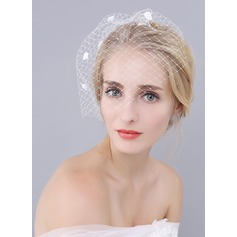 One-tier Blusher Veils With Satin Flower