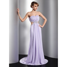 A-Line/Princess Sweetheart Sweep Train Chiffon Evening Dress With Ruffle Beading Sequins Split Front