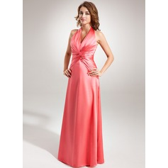 A-Line/Princess Halter Floor-Length Charmeuse Bridesmaid Dress With Ruffle