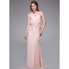 Trumpet/Mermaid Scoop Neck Floor-Length Chiffon Evening Dress With Beading Appliques Lace Sequins Bow(s)