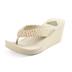 Women's Cloth Wedge Heel Sandals Wedges Flip-Flops With Sparkling Glitter shoes