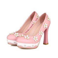 Women's Leatherette Chunky Heel Pumps Closed Toe With Flower shoes